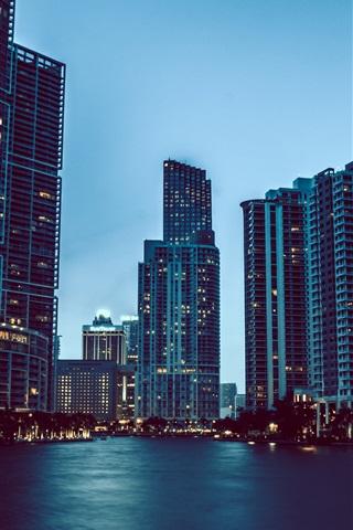 iPhone Wallpaper City dusk, skyscrapers, water, lights, Florida, Miami, USA