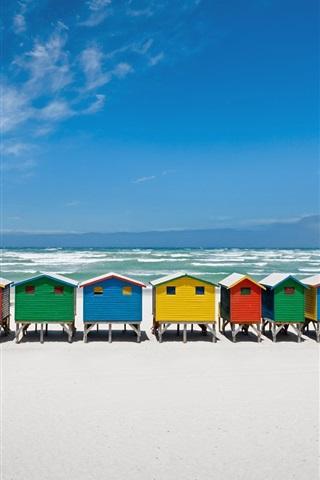 iPhone Обои Побережье, пляж, море, курорт, красочные деревянные дома