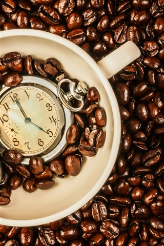 iPhone Wallpaper Coffee beans, cup, time watch