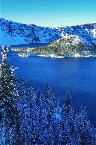 iPhone Wallpaper Crater Lake National Park, USA, mountains, snow, trees, island