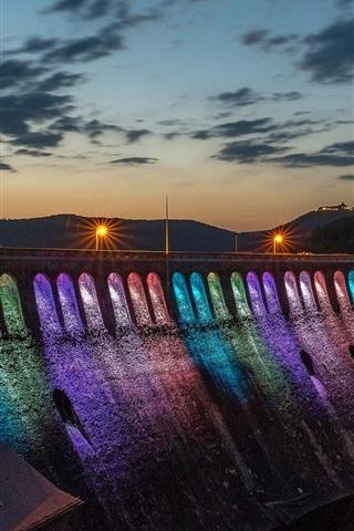 iPhone Wallpaper Dam night, rainbow-colored lighting