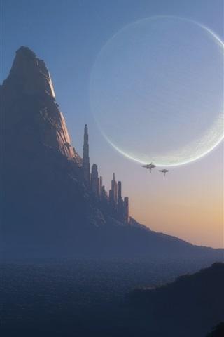 iPhone Wallpaper Fantasy world, art design, mountain, city, planet, spaceships, dusk