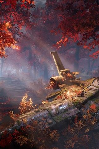 iPhone Wallpaper Forest, autumn, broken spaceship, art design