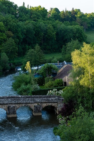iPhone Wallpaper France, village, trees, bridge, river, house