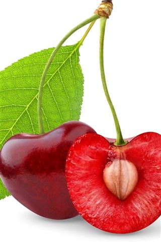 iPhone Wallpaper Fresh cherry, half section, white background