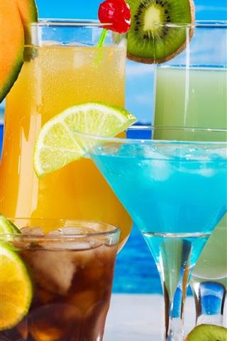 iPhone Wallpaper Fruit drinks, glass cups, kiwi, melon, orange, coconut