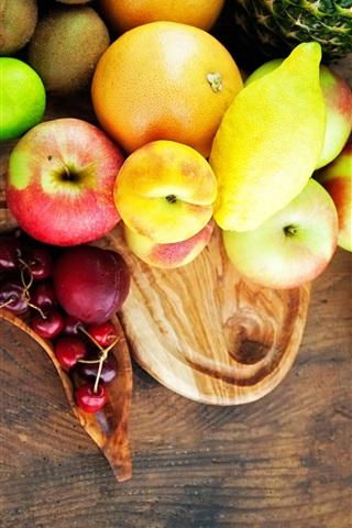 iPhone Wallpaper Fruits close-up, banana, apple, kiwi, plum, orange, melon, cherry