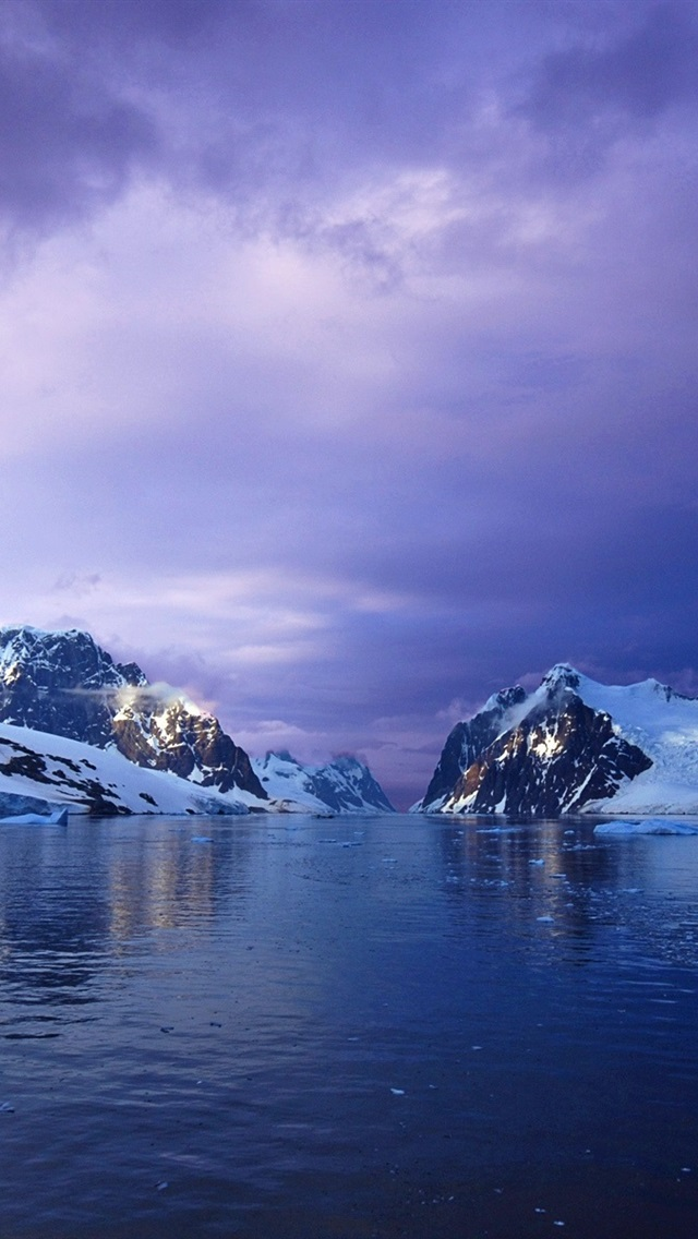 Glacier Snow Mountains Ocean Clouds Sunset Antarctica