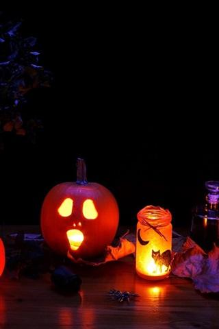 iPhone Wallpaper Halloween, pumpkin lights