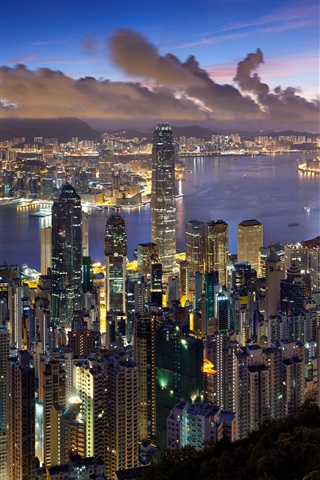 iPhone Wallpaper Hong Kong city night views, skyscrapers, lights, bay