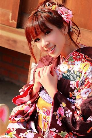iPhone Wallpaper Japanese girl beautiful kimono