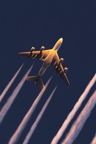 iPhone Wallpaper Korean Air A380 planes flight bottom view