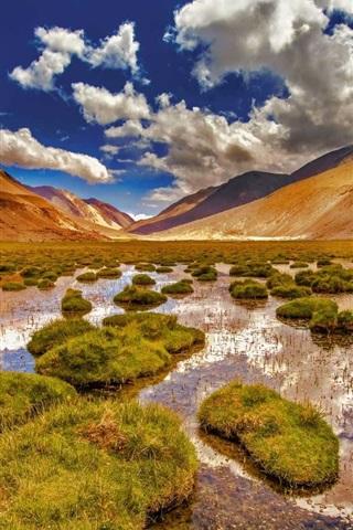 iPhone Wallpaper Ladakh, Jammu and Kashmir, mountains, swamp, grass, India
