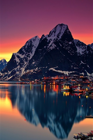 Lofoten Evening Sunset Mountains Lake Town Lights Norway