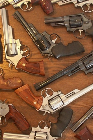 iPhone Wallpaper Many revolvers, weapons, guns