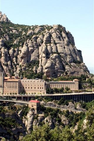 iPhone Wallpaper Monastery, Montserrat, Spain, mountains, stones
