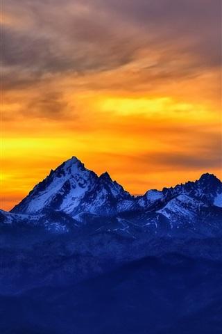 iPhone Papéis de Parede Montanhas, pôr do sol, céu vermelho, neve, crepúsculo