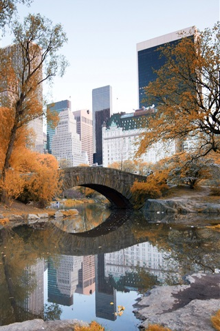 iPhone Wallpaper New York, Central Park, autumn, trees, water, skyscrapers
