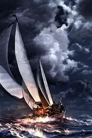 iPhone Wallpaper Night sea, storm, sailboat, moon, city, art drawing