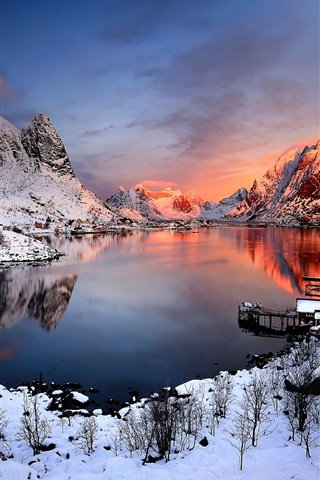 iPhone Wallpaper Norway sunset winter, snow, houses, lake, mountains