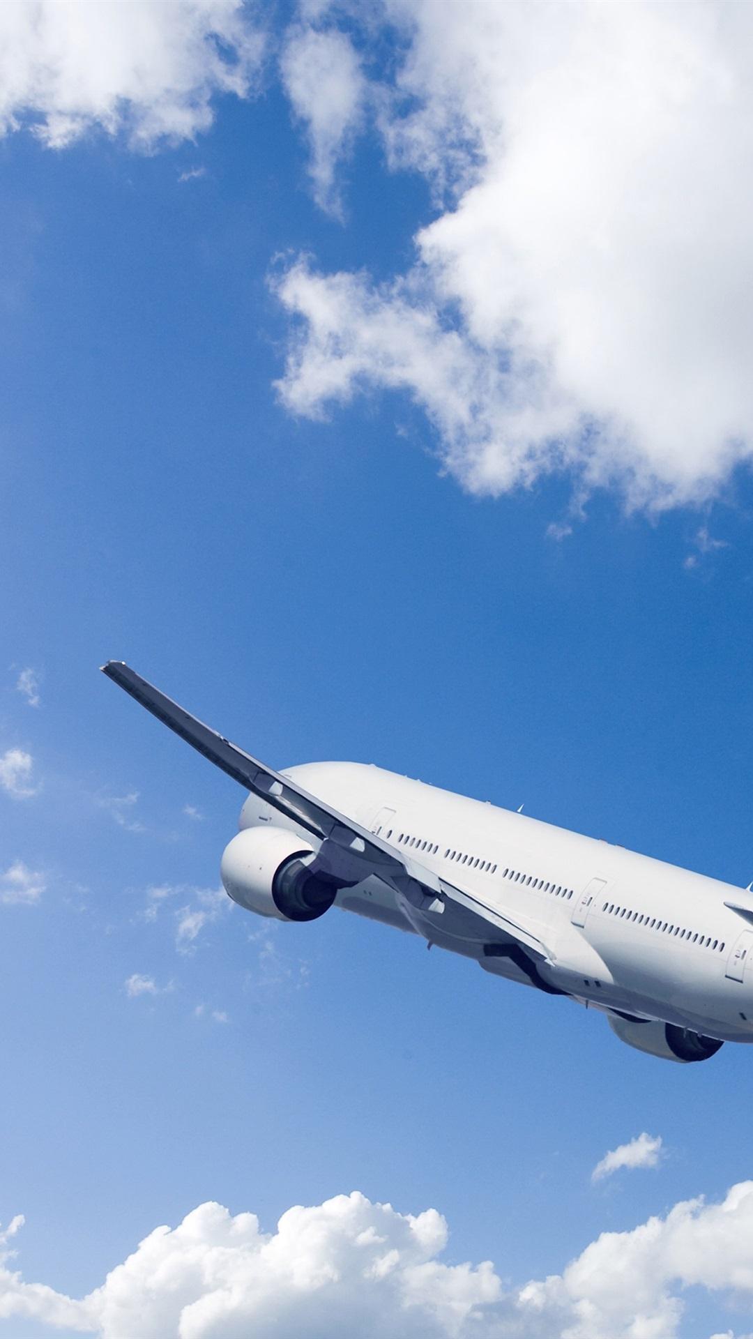 Passenger Airplane Rise Flight Blue Sky Clouds 1080x1920