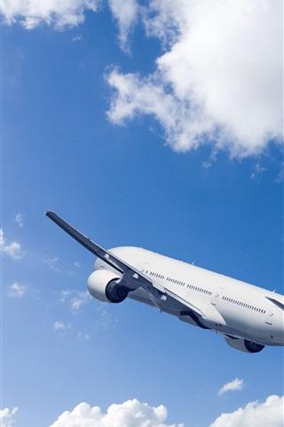 iPhone Wallpaper Passenger airplane, rise flight, blue sky, clouds