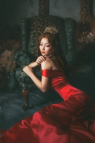 iPhone Wallpaper Red dress Asian girl in the room