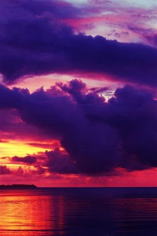 iPhone Wallpaper Red sky, sunset, sea, dusk