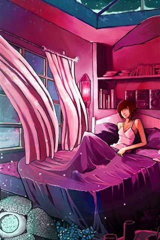 iPhone Wallpaper Room, curtains, bed, girl, wolf, wind, art drawing