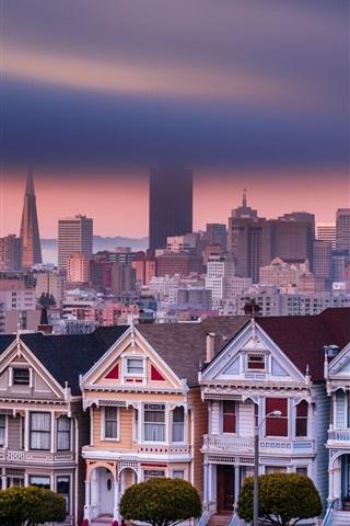 iPhone Wallpaper San Francisco, California, USA, Alamo Square, houses, city, skyscrapers