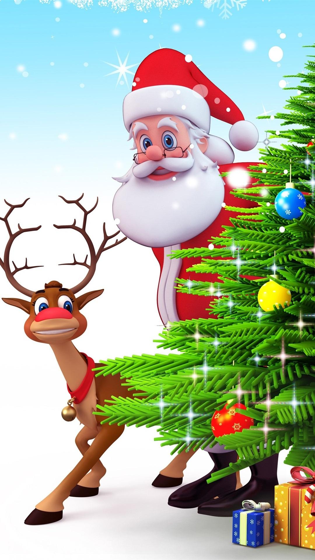 壁紙 サンタクロース クリスマスツリー 鹿 プレゼント 3dアート写真 3840x2160 Uhd 4k 無料のデスクトップの背景 画像