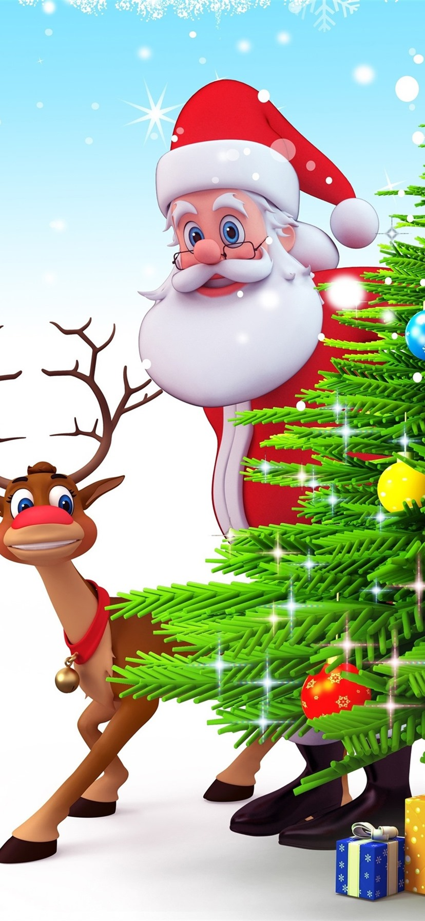 Santa Claus Christmas Tree Deer Gifts 3d Art Picture 1080x1920