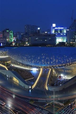 iPhone Wallpaper Seoul, Korea, city night, Dongdaemun Design Plaza, road, lights