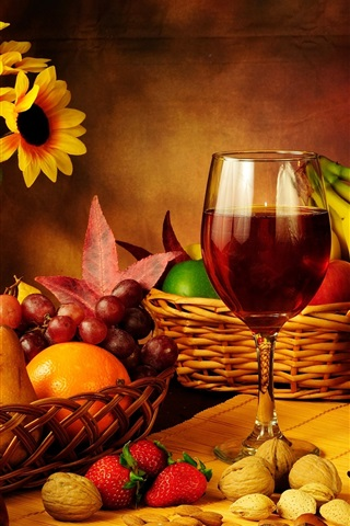 iPhone Wallpaper Still life photography, grapes, apples, strawberry, wine, bottle, flowers, candle