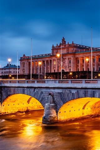 iPhone Wallpaper Stockholm, Sweden, city night, Parliament Building, bridge, lights