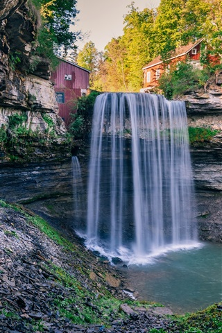 iPhone Wallpaper Sunny day, houses, waterfall, trees, Ontario, Canada