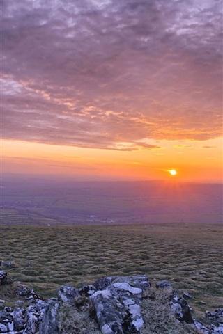 iPhone Wallpaper Sunrise, clouds, hills