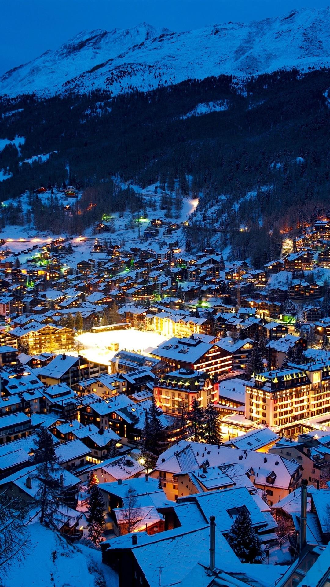 Fondos De Pantalla Suiza Zermatt Ciudad Noche Alpes