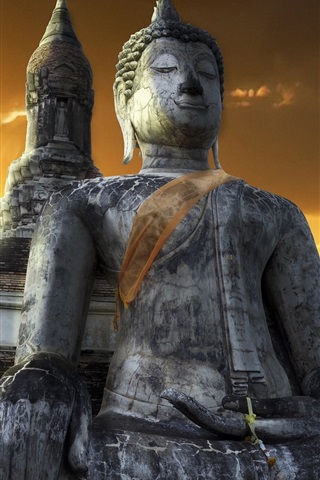 iPhone Wallpaper Temple, buddha, Sukhothai, Thailand