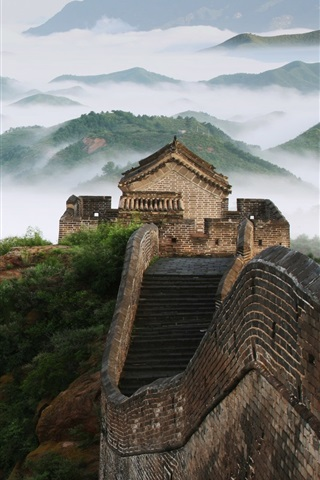 iPhone Wallpaper Travel to China, The Great Wall, fog, mountains, dawn