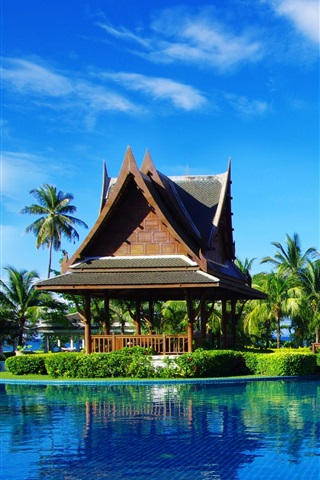 iPhone Wallpaper Tropical resort, palm trees, gazebo, umbrellas, sunbeds, pool