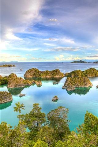 iPhone Wallpaper West Papua, Indonesia, islands, tropical, sea, coast, blue sky