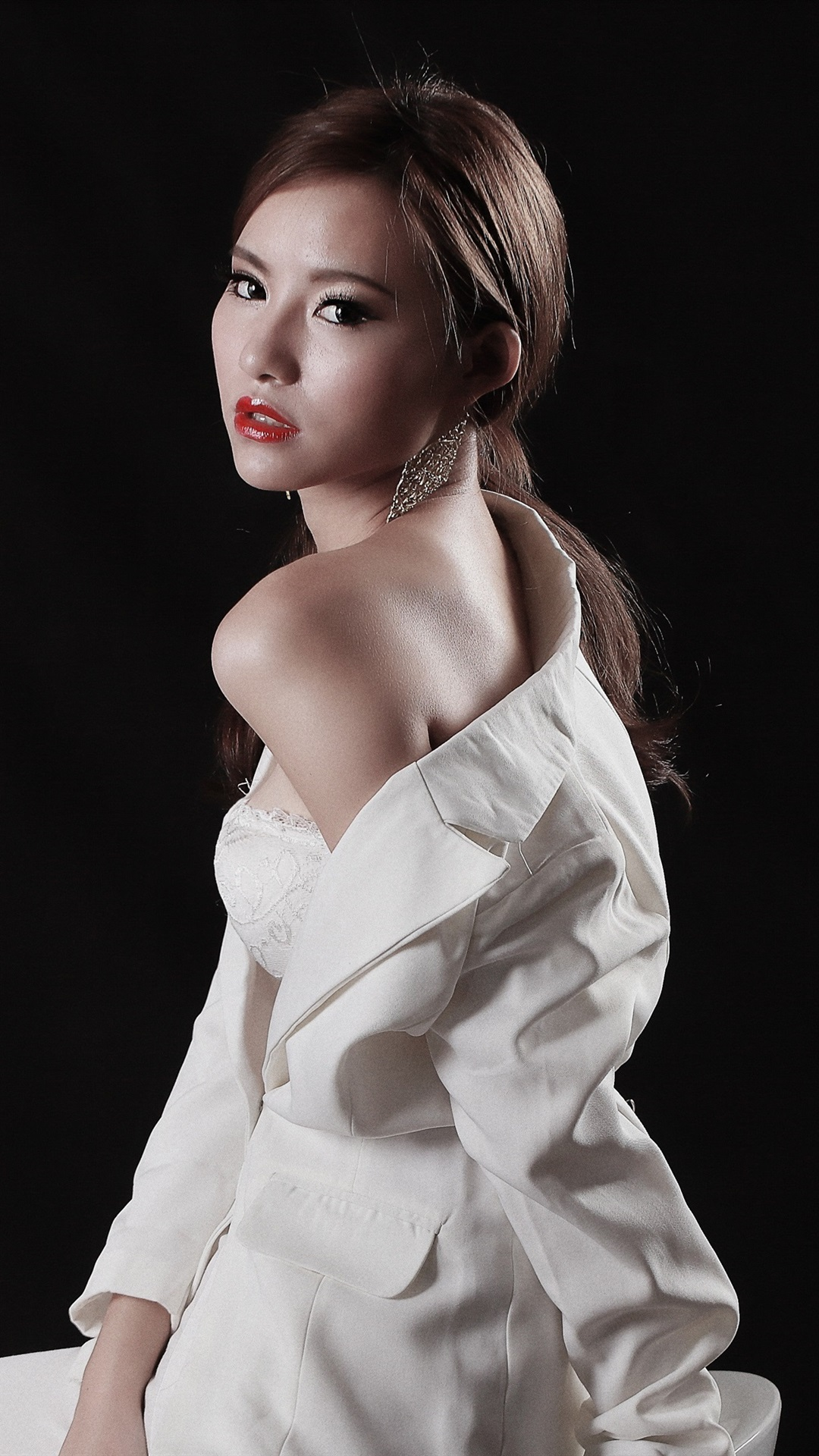 Wallpaper White Dress Asian Girl Costume Black