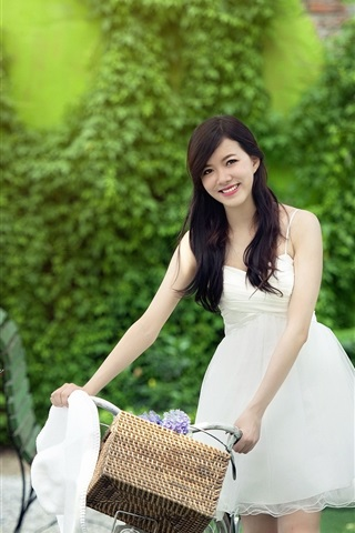 iPhone Wallpaper White dress Chinese girl smile, bike