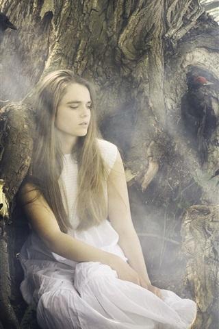 iPhone Wallpaper White dress girl at lakeside, black bird, crow
