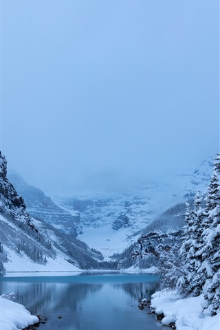 iPhone Wallpaper Winter, snow, trees, Lake Louise, Banff National Park, Canada nature landscape