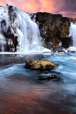 iPhone Wallpaper Winter, waterfall, snow, ice, rocks, sunset