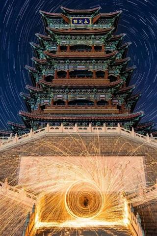 iPhone Wallpaper Yongding floor, night, fireworks, China, Beijing