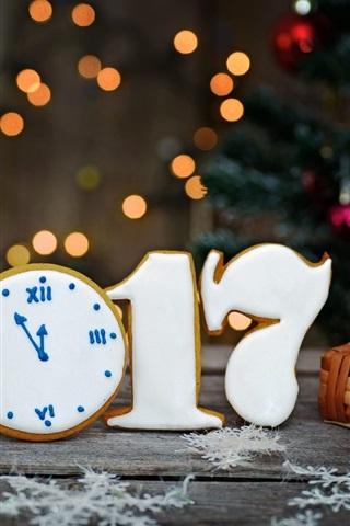 iPhone Wallpaper 2017 New Year, cookies, snowflakes, basket