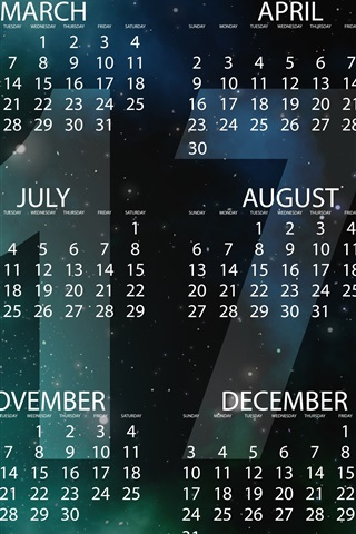 iPhone Wallpaper 2017 calendar, New Year